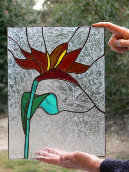 réalisation élèves à l'atelier vitrail TOUCOULEUR